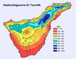 Verteilung der Niederschläge auf Teneriffa